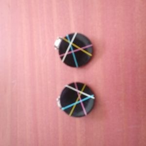 Vintage black button clip on earrings